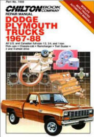 Automotive repair manuals dodgeplymouth trucks 1967 88 chiltons repair manual 7459 by the chilton bk co first edition fandeluxe Image collections